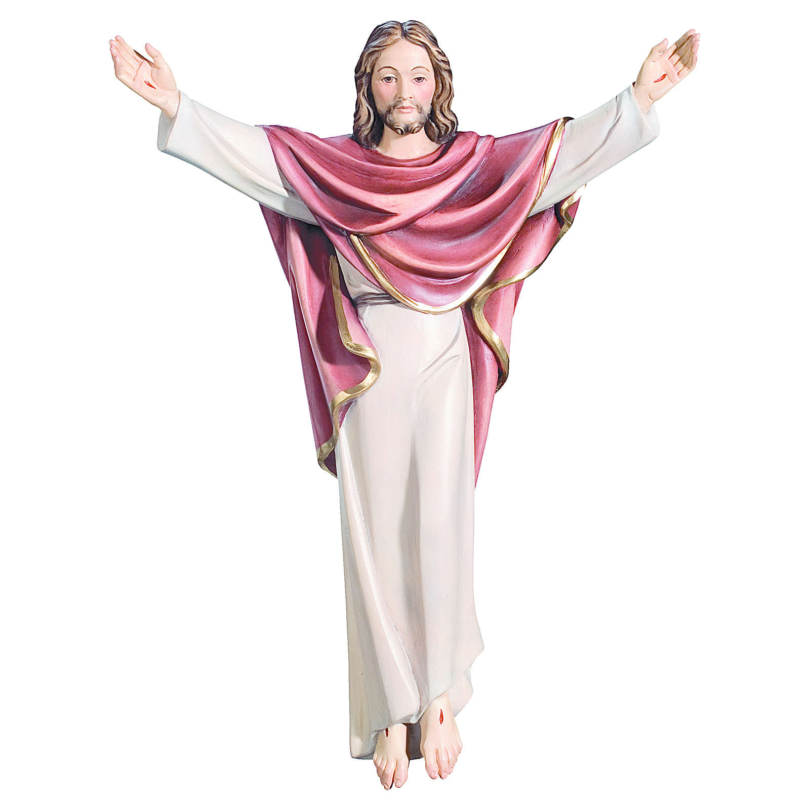 Estatua Cristo Rey de madera pintada de la Val Gardena 4
