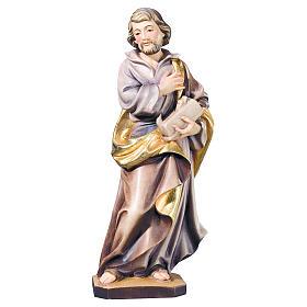 Statues en bois peint: Saint Joseph travailleur bois marron doré Val Gardena