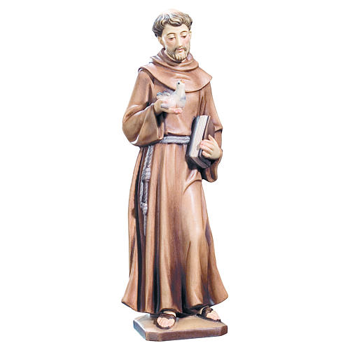 Saint Francis with bird and book painted wood statue, Val Gardena 1