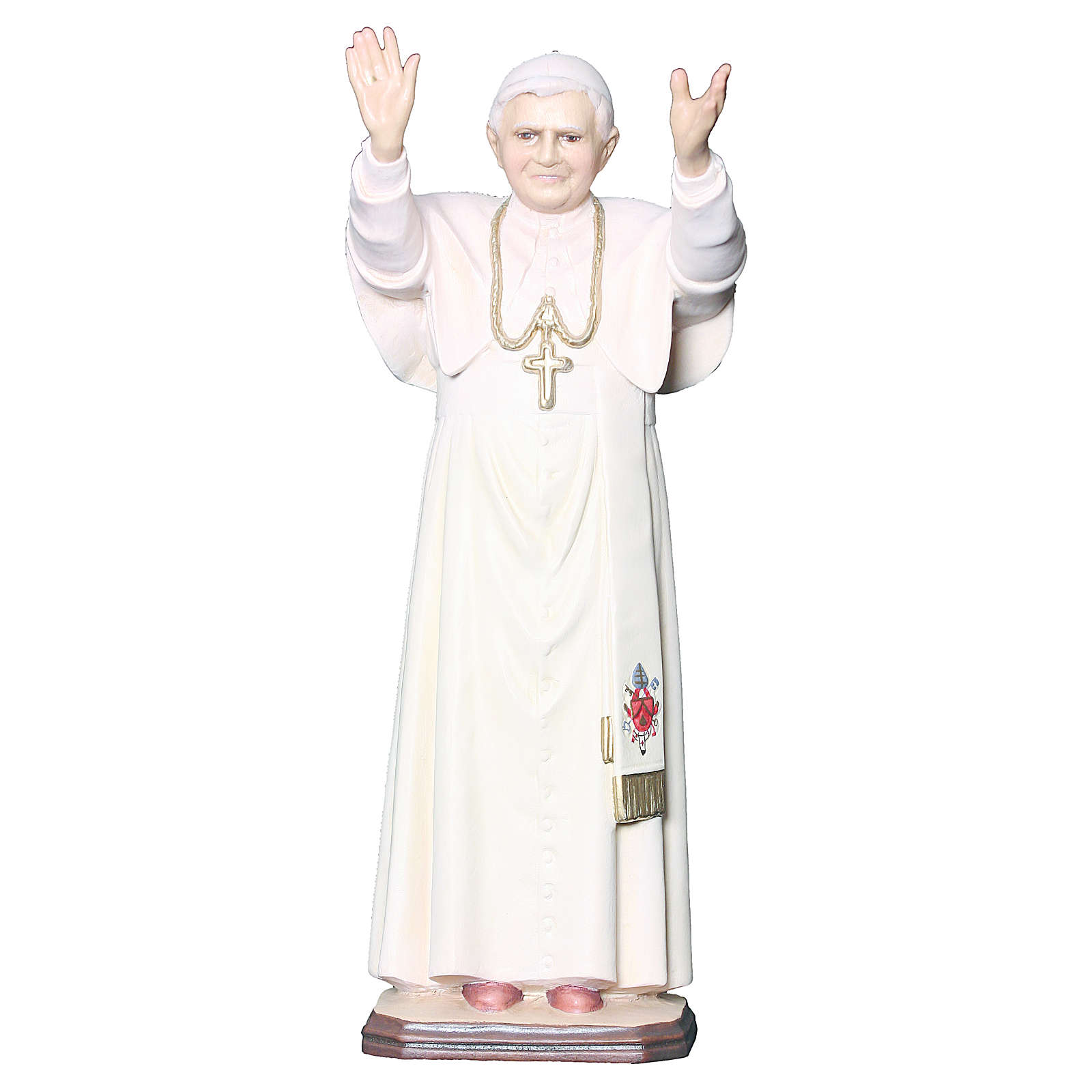 Estatua Papa Benedicto XVI madera pintada cruz dorada blanca 4