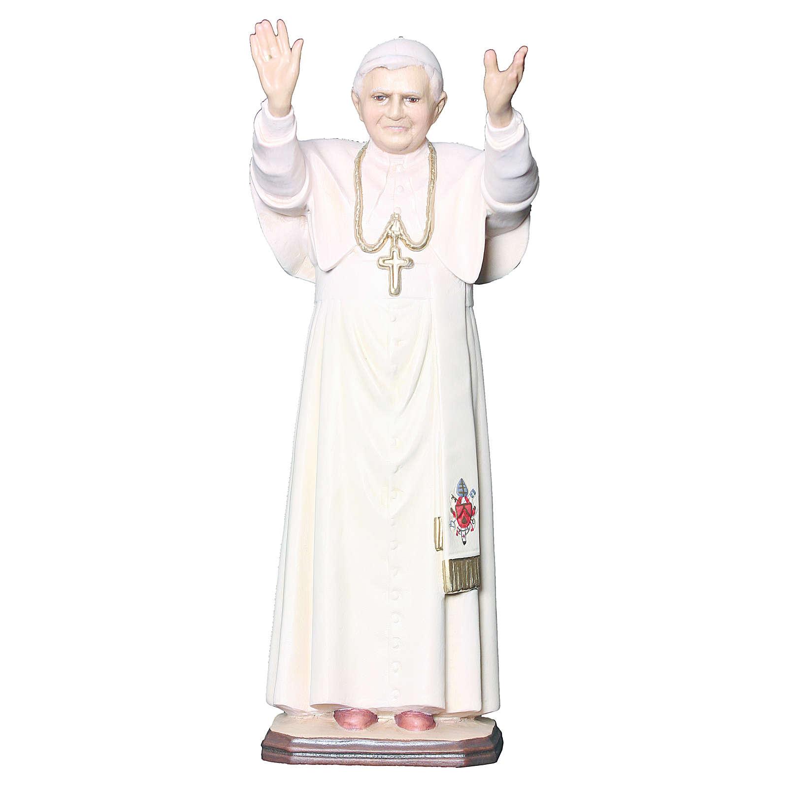 Statue Pape Benoît XVI bois peint croix dorée blanche 4