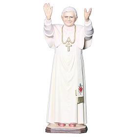 Statue Pape Benoît XVI bois peint croix dorée blanche s1