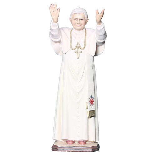 Statue Pape Benoît XVI bois peint croix dorée blanche 2