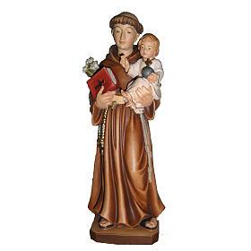 St Antoine de Padoue avec Enfant bois peint Val Gardena s1