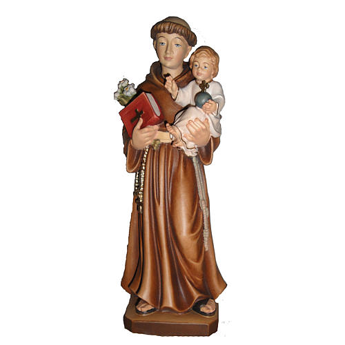 St Antoine de Padoue avec Enfant bois peint Val Gardena 1