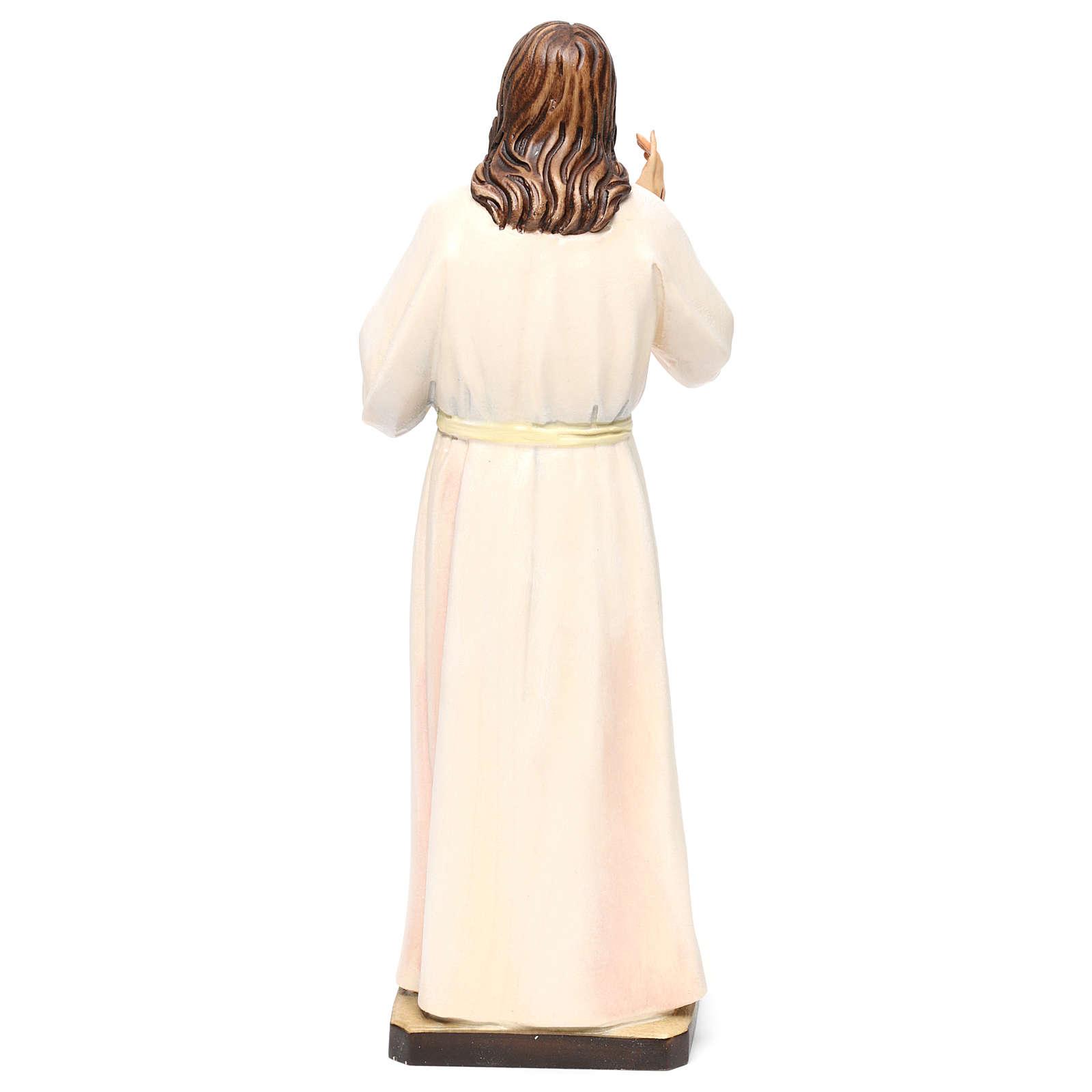 Estatua madera pintada Val Gardena Sagrado Corazón de Jesús vestido blanco 4