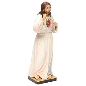 Estatua madera pintada Val Gardena Sagrado Corazón de Jesús vestido blanco s4