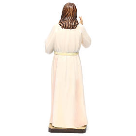Estatua madera pintada Val Gardena Sagrado Corazón de Jesús vestido blanco s5