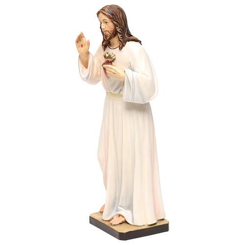 Estatua madera pintada Val Gardena Sagrado Corazón de Jesús vestido blanco 3