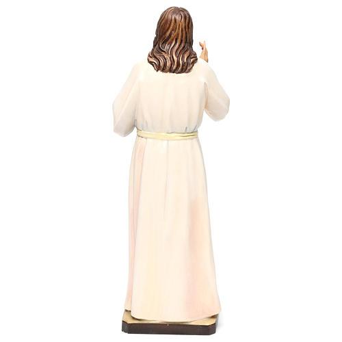 Estatua madera pintada Val Gardena Sagrado Corazón de Jesús vestido blanco 5