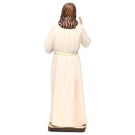 Statua legno dipinto Val Gardena Sacro Cuore di Gesù veste bianca s5