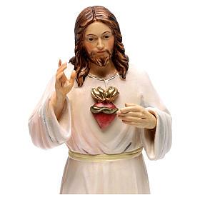 Imagem madeira pintada Val Gardena Sagrado Coração de Jesus túnica branca