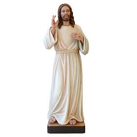 Statua Gesù Benedicente legno dipinto della Val Gardena s1