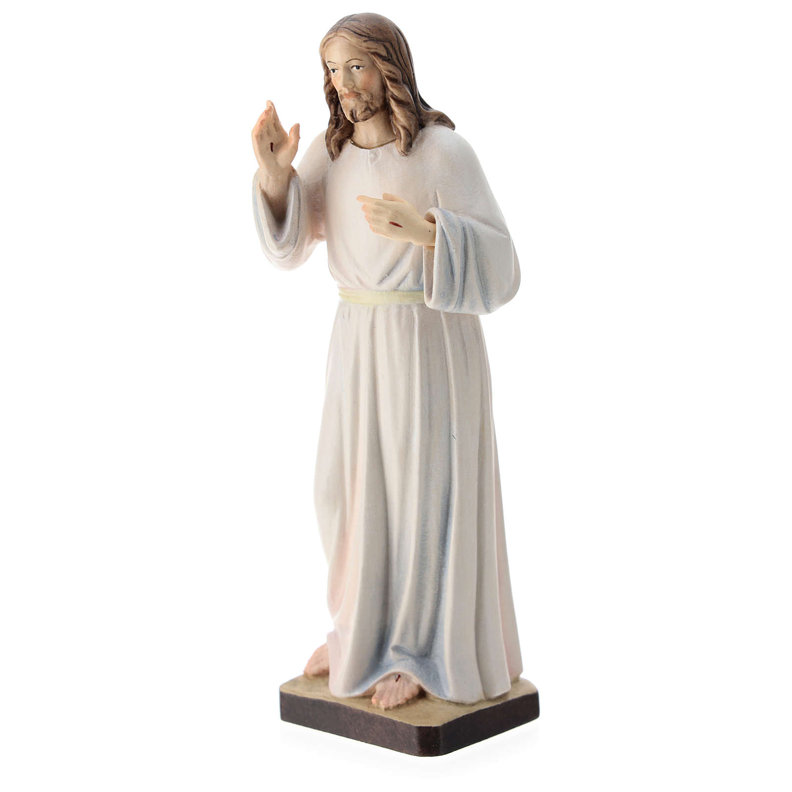 Christ with white dress painted wood statue, Val Gardena 4