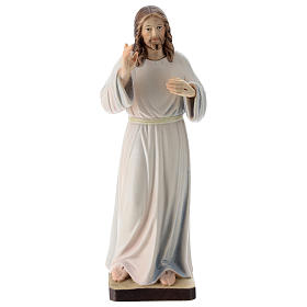 Hand painted wooden statues: Christ with white dress painted wood statue, Val Gardena