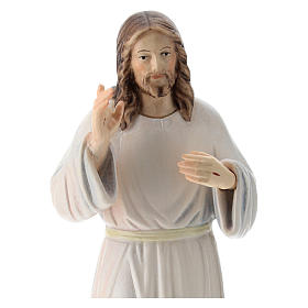 Christ with white dress painted wood statue, Val Gardena s2
