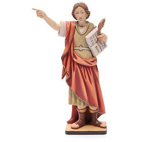 Statues en bois peint: Saint Pancrace en bois peint Val Gardena cape rouge
