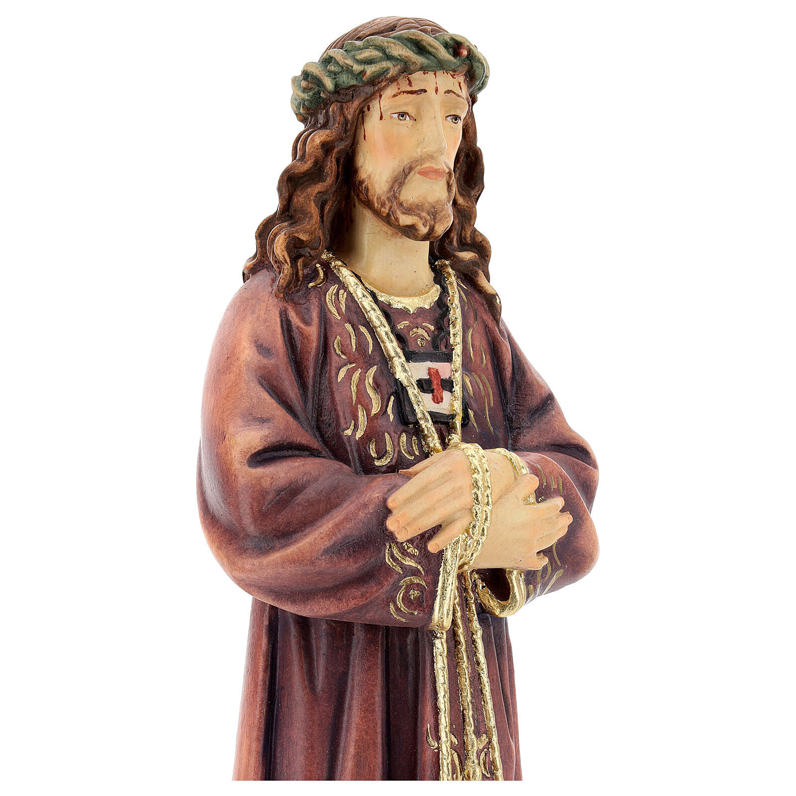 Estatua de Jesús de madera pintada de la Val Gardena 4