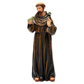 Statues en bois peint: Statue Saint François pâte à bois colorée 15 cm