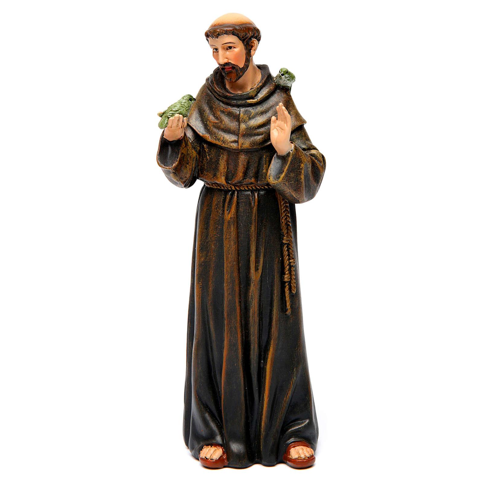Saint Francis figure in painted wood pulp 15cm 4