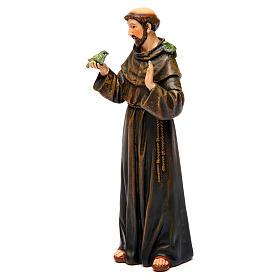 Saint Francis figure in painted wood pulp 15cm s3