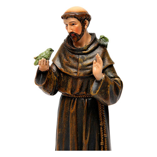 Saint Francis figure in painted wood pulp 15cm 2