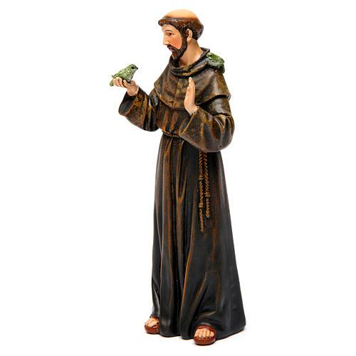 Saint Francis figure in painted wood pulp 15cm 3