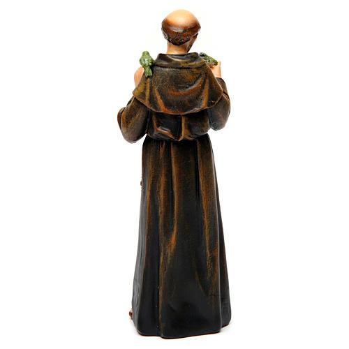 Saint Francis figure in painted wood pulp 15cm 5