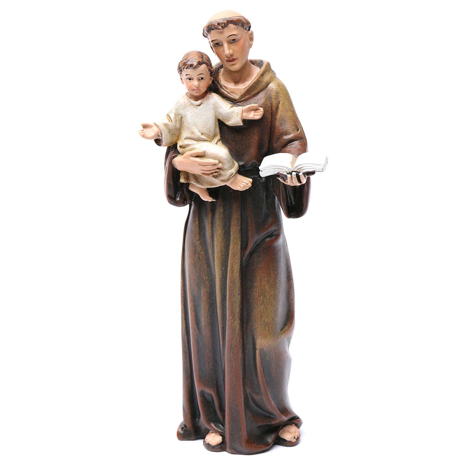 Estatua de San Antonio 15 cm de pasta de madera pintada 4