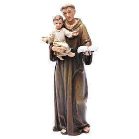 Statues en bois peint: Statue Saint Antoine pâte à bois colorée 15 cm