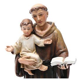 Statua Sant'Antonio pasta legno colorata 15 cm s2
