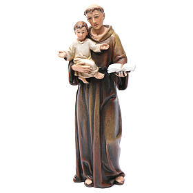 Hand painted wooden statues: Saint Anthony figure in painted wood pulp 15cm