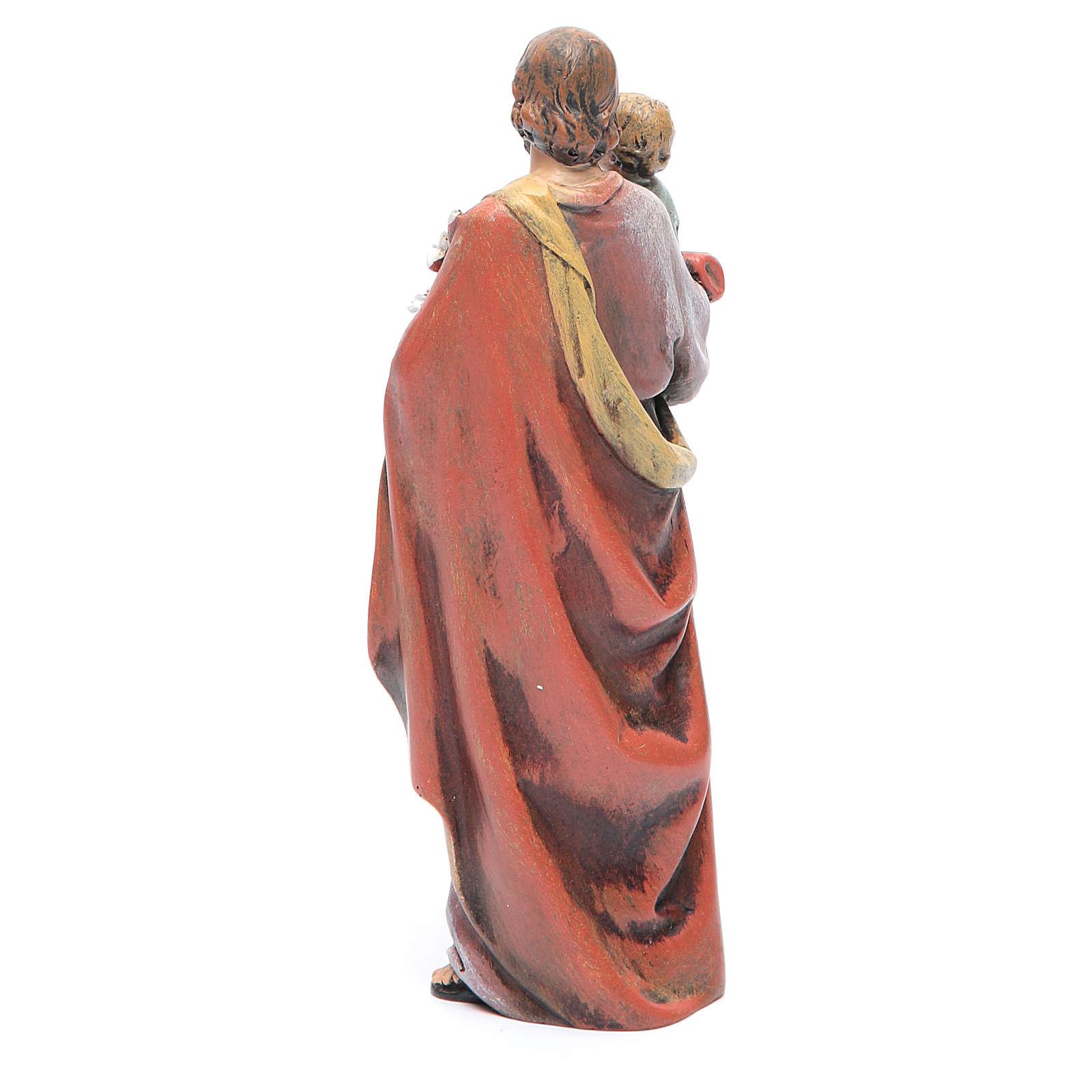 Statue Hl. Josef mit Kind bemalte Holzmasse 15cm 4