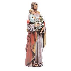Statue Hl. Josef mit Kind bemalte Holzmasse 15cm s4