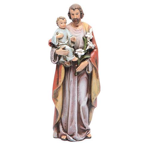 Statue Hl. Josef mit Kind bemalte Holzmasse 15cm 1