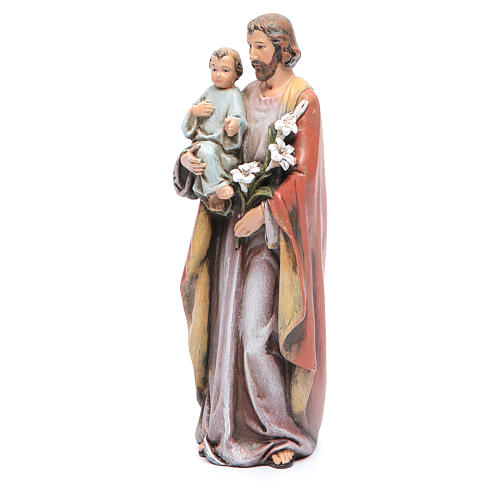 Statue Hl. Josef mit Kind bemalte Holzmasse 15cm 2