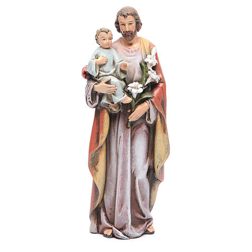 Saint Joseph and baby figure in painted wood pulp 15cm 1