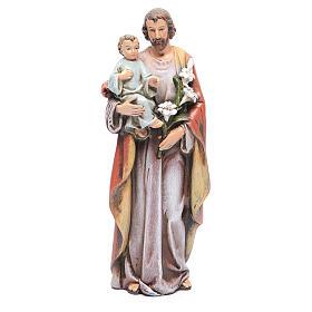 Estatua San José con el Niño Jesús de pasta de madera pintada 15 cm s1
