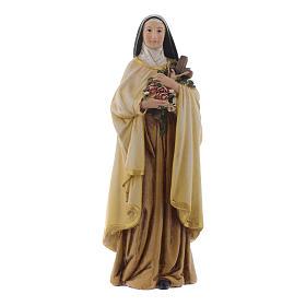 Statues en bois peint: Statue Sainte Thérèse pâte à bois colorée 15 cm