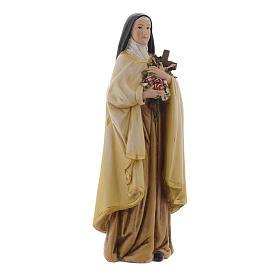 Statua Santa Teresa pasta legno colorata 15 cm s3
