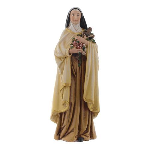 Statua Santa Teresa pasta legno colorata 15 cm 1