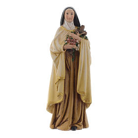 Hand painted wooden statues: Saint Theresa in painted wood pulp 15cm
