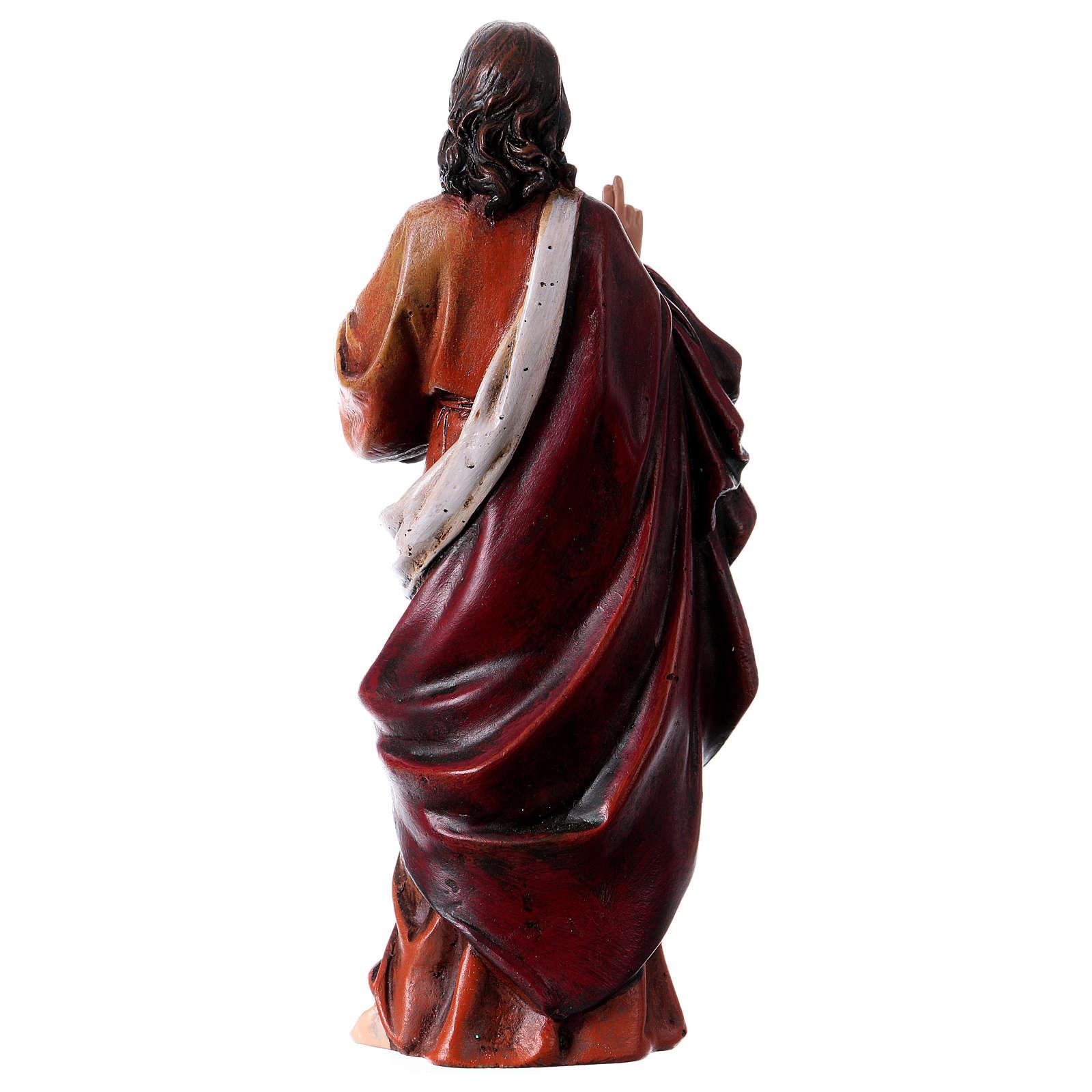 Estatua Sagrado Corazón de Jesús de pasta de madera pintada 15 cm 4