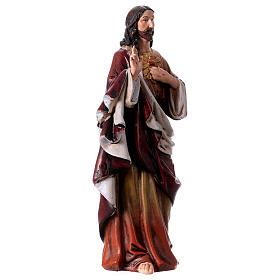 Estatua Sagrado Corazón de Jesús de pasta de madera pintada 15 cm s3