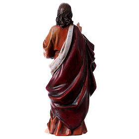 Estatua Sagrado Corazón de Jesús de pasta de madera pintada 15 cm s4
