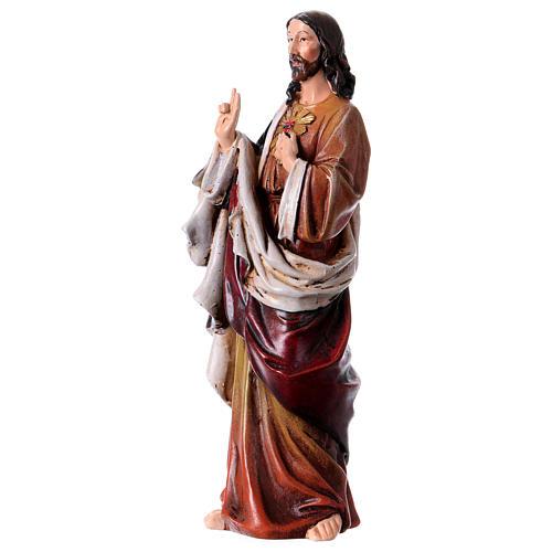 Estatua Sagrado Corazón de Jesús de pasta de madera pintada 15 cm 2