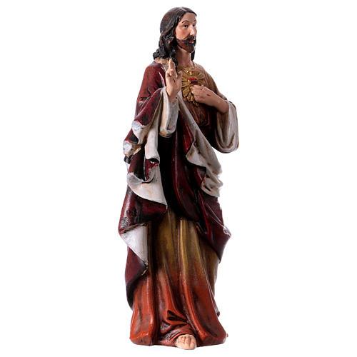 Estatua Sagrado Corazón de Jesús de pasta de madera pintada 15 cm 3