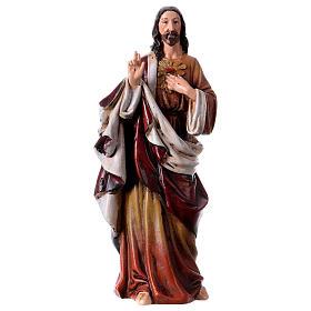 Statues en bois peint: Statue Sacré Coeur pâte à bois colorée 15 cm