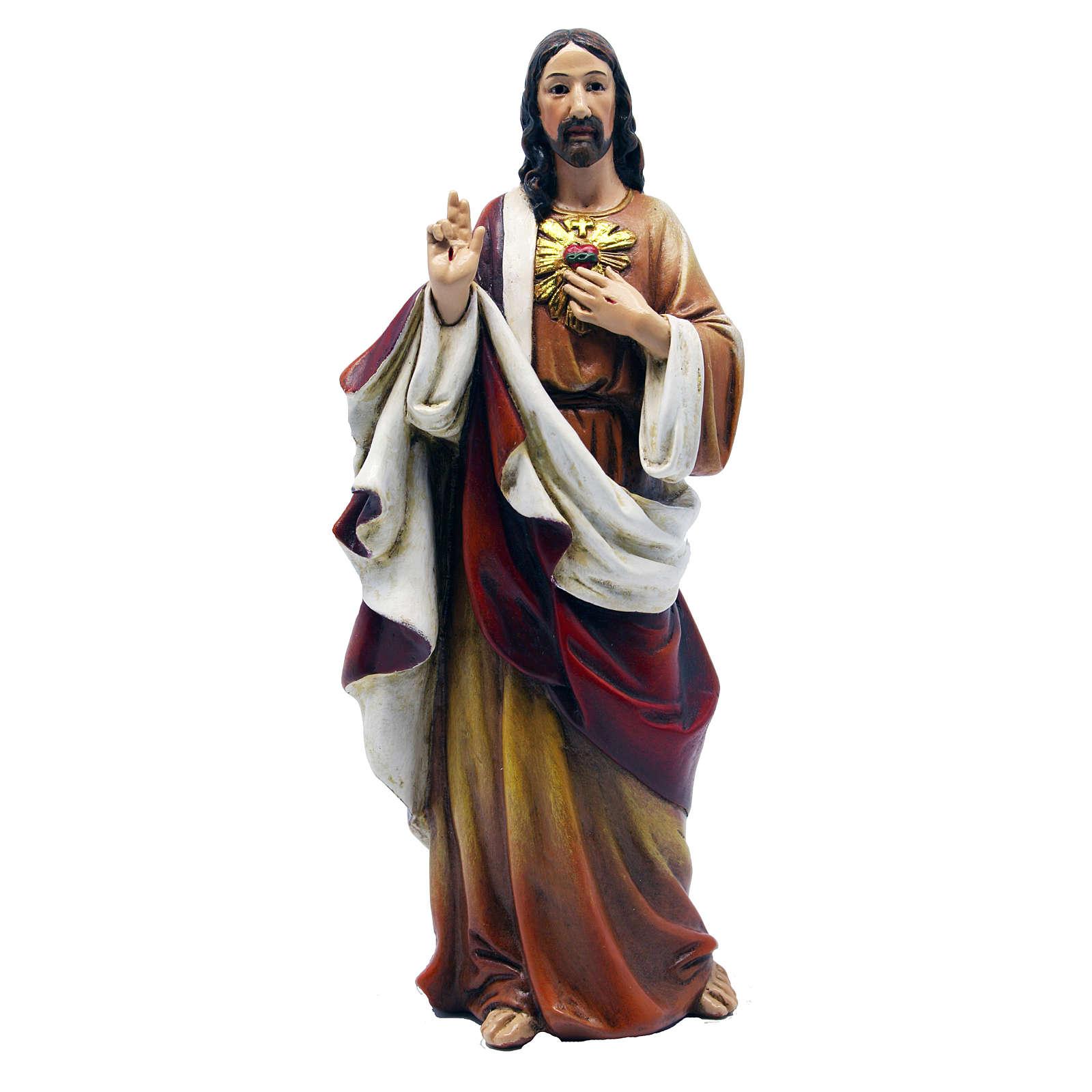 Statua Sacro Cuore di Gesù pasta legno colorata 15 cm 4