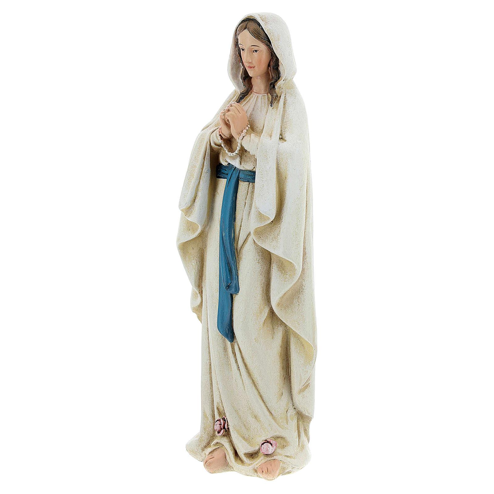 Imagen Virgen de Lourdes pasta de madera pintada 15 cm 4